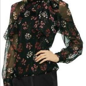 VINCE CAMUTO GILDED ROSE SHEER BLOUSE TOP NEW